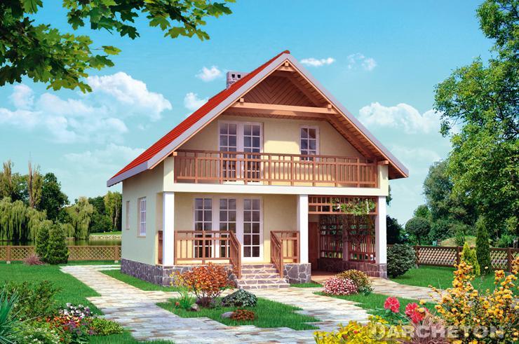 Projekt domu Letnisko - dom z użytkowym poddaszem, z wiatą na samochód