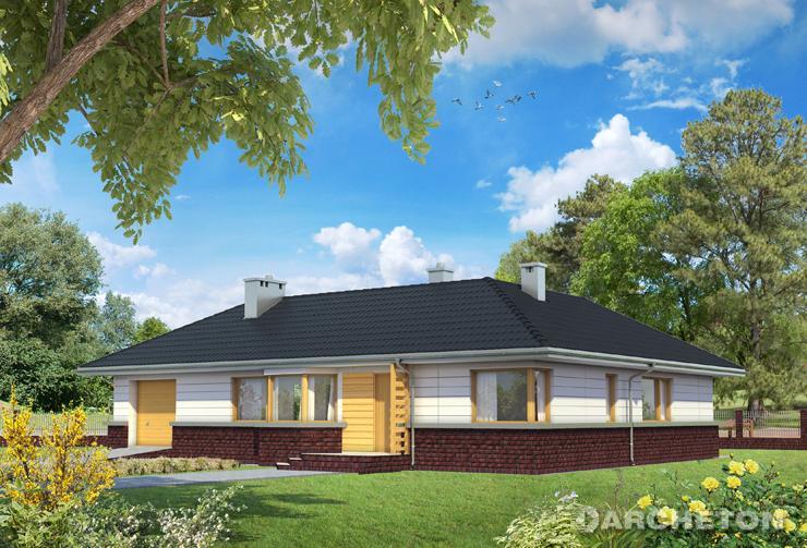 Projekt domu Lidia - dom z wysoką kamienną podmurówką i wydatnym okapem