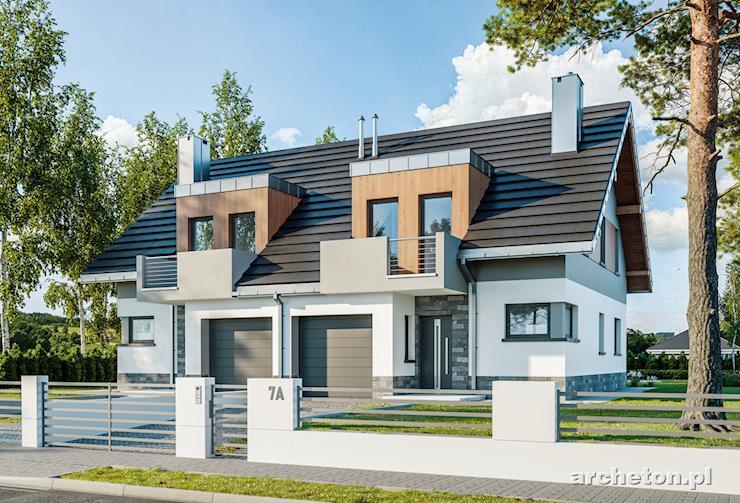 Projekt domu Lila Duo - nowoczesny dom do zabudowy bliźniaczej, z garażem