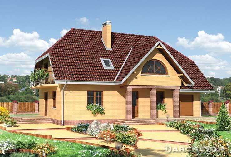 Projekt domu Lipczyk - dom z częścią mieszkalną oraz gospodarczą