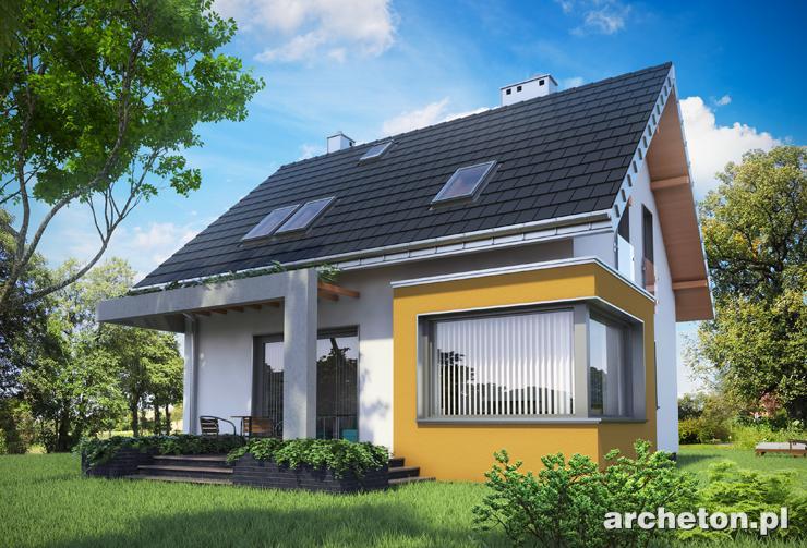 Projekt domu Liza Karo - mały dom, z użytkowym poddaszem, z nowoczesnymi detalami w elewacji