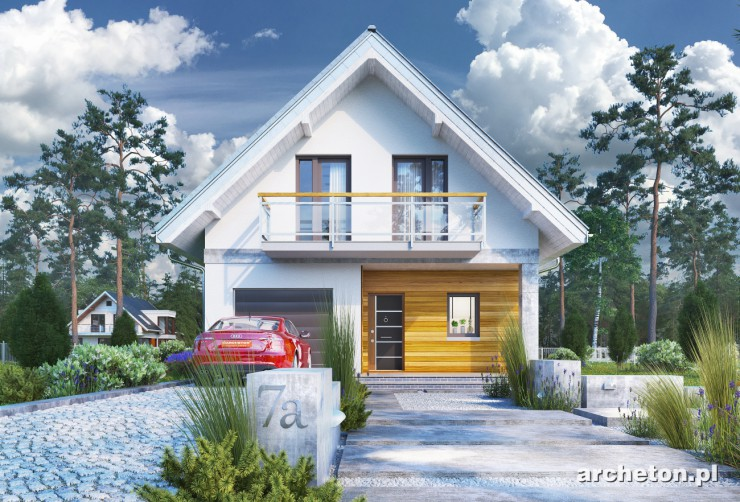 Projekt domu Lobelia - dom z gankiem wejściowym