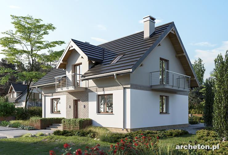 Projekt domu Loreta - dom z dachem pokrytym dachówką betonową lub ceramiczną