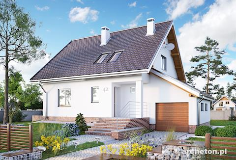 Projekt domu Lubczyk - dom na planie kwadratu z dostawionym garażem