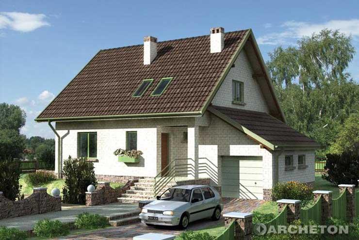 Projekt domu Lubczyk - dom z dużym salonem, z wjazdem od południa