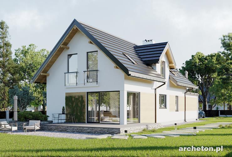 Projekt domu Lucek - dom na wąską działkę, z balkonem nad garażem i tarasem od strony ogrodu