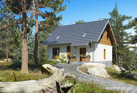 Projekt domu Macierzanka - dom z drewnianymi wykończeniami elewacji