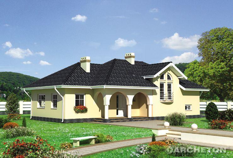 Projekt domu Magnolia - dom z przeszkolonym pokojem dziennym i sypialnią