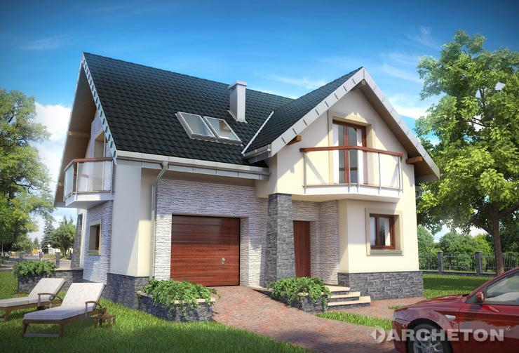 Projekt domu Magnus - dom z otwartą przestrzenią na parterze, z dwoma garderobami na poddaszu