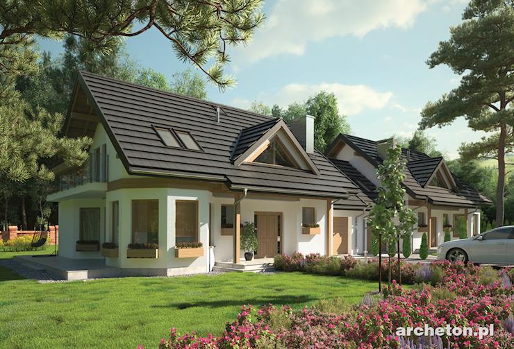 Projekt domu Maja Duo - dom z użytkowym poddaszem, do zabudowy bliźniaczej