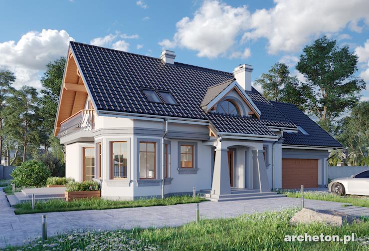 Projekt domu Maja Lux G2 - duży dom z garażem dwustanowiskowym i zdobioną elewacją
