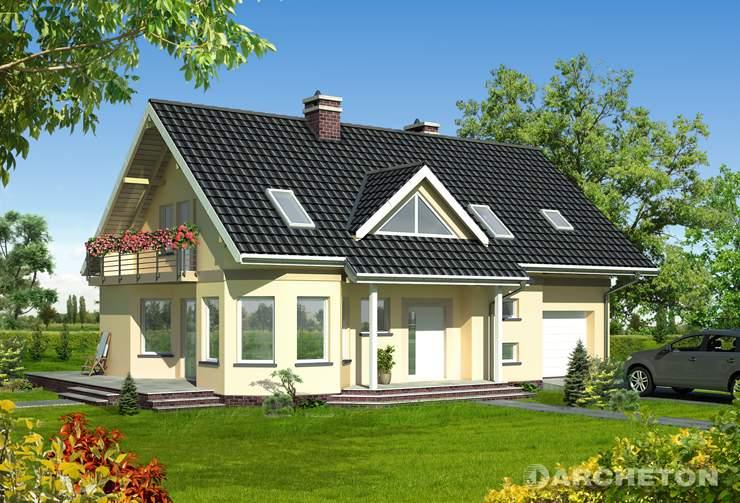 Projekt domu Maja Max - dom z użytkowym poddaszem, z garażem w bryle budynku