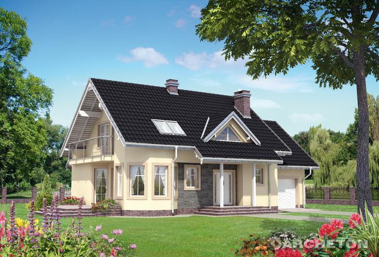 Projekt domu Maja Neo - dom z daszkiem nad wejściem, wspartym na nieozdobnych słupach