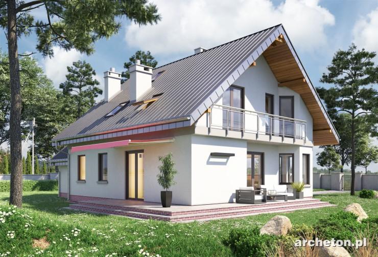 Projekt domu Maja Rex - funkcjonalny dom, z dużym tarasem i składzikiem w garażu
