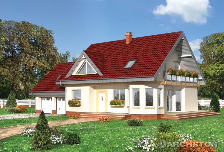 Projekt domu Maja Rex G2 - dom z garażem dwustanowiskowym, ze składzikiem i dużą kotłownią