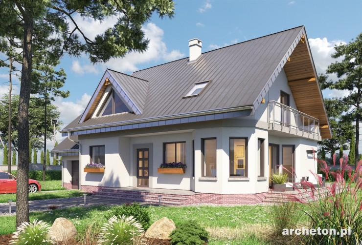Projekt domu Maja Rex Grota - dom całkowicie podpiwniczony, z pomieszczeniem gospodarczym w garażu