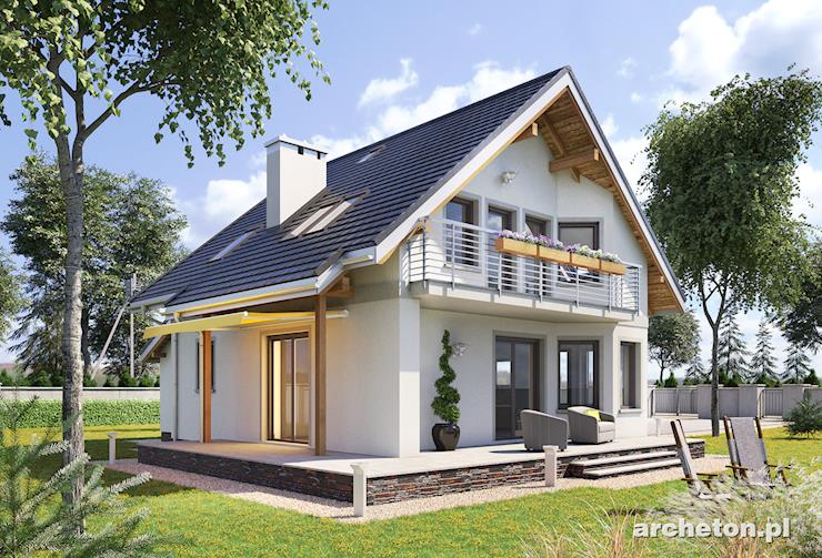 Projekt domu Majka - mały domek z pokojem dziennym otwartym na kuchnię
