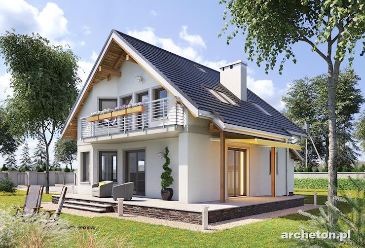 Projekt domu Majka Beta - mały dom z dużym tarasem od strony ogrodu