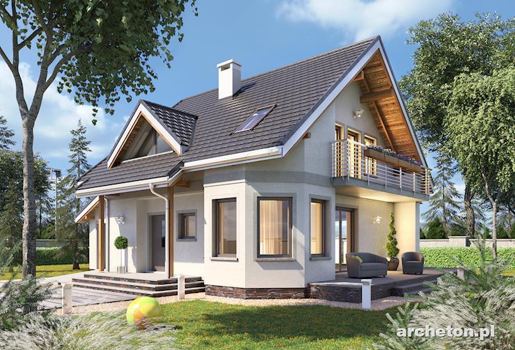 Projekt domu Majka Grota - mały dom z piwnicą i garażem na jeden samochód