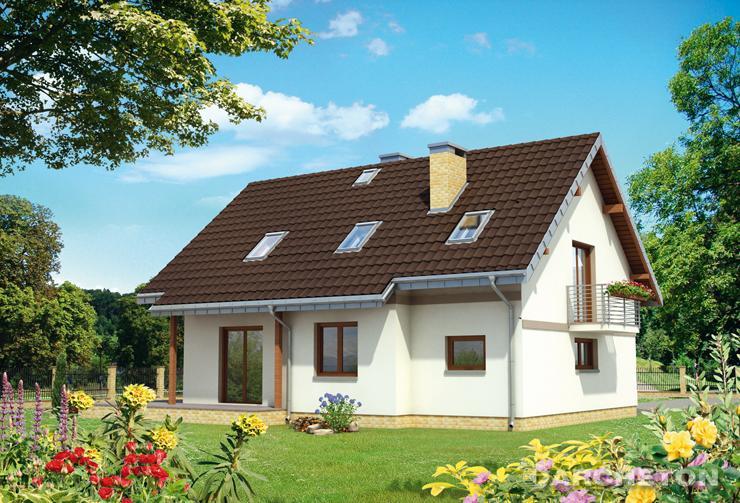 Projekt domu Majka Puzon - dom z pokojem dziennym z dwoma wyjściami na taras