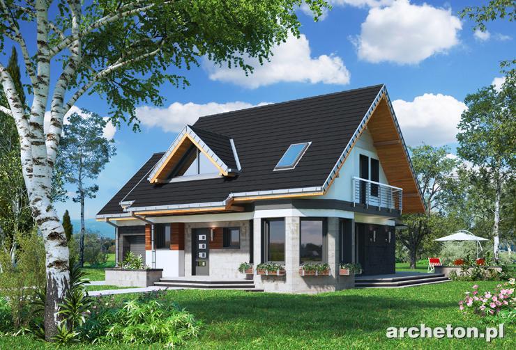 Projekt domu Majka Rex - funkcjonalny i nowoczesny domek, z garażem i tarasem