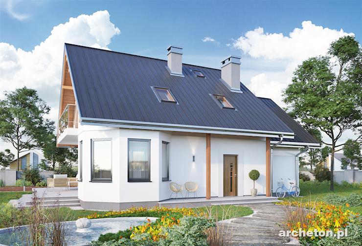 Projekt domu Majka Solis - dom z tarasem okrążającym budynek z dwóch stron