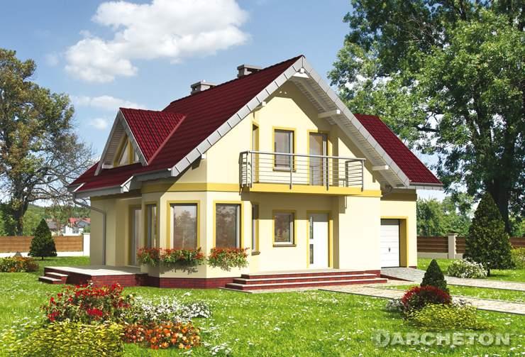 Projekt domu Majka Teta - niewielki domek z wejściem od ściany szczytowej