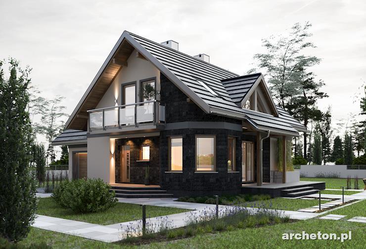Projekt domu Majka Tura - dom z balkonem nad drzwiami wejściowymi