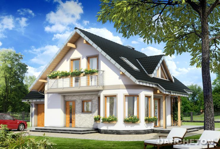 Projekt domu Majka Twist - dom z wysuniętą jadalnią i dostawionym garażem