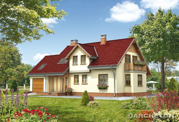 Projekt domu Makary - dom z pomieszczeniem gospodarczym nad garażem