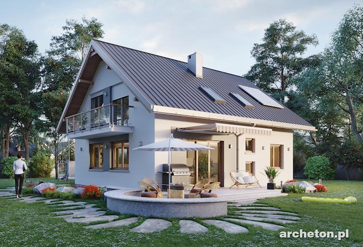 Projekt domu Malachit - dom z użytkowym poddaszem, o prostej bryle, nakryty dachem dwuspadowym
