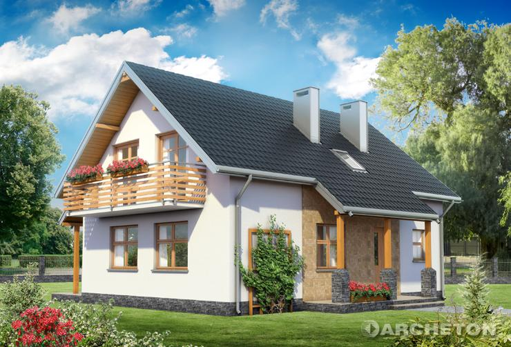 Projekt domu Malachit - dom z użytkowym poddaszem, na planie prostokąta