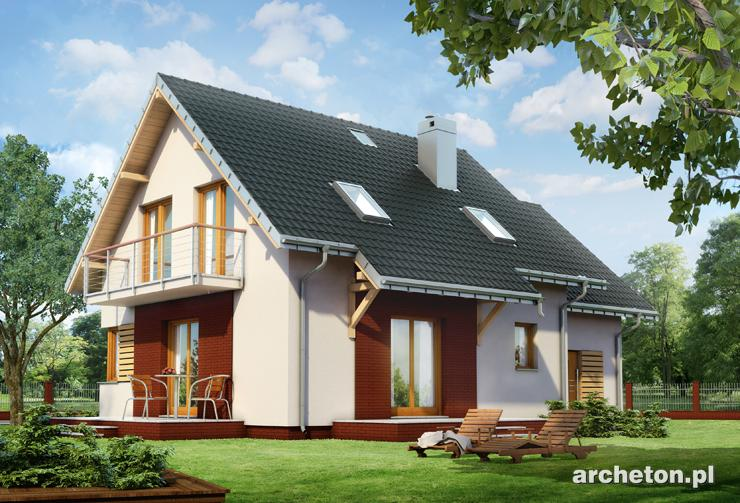 Projekt domu Malina - dom o prostej, zwartej bryle urozmaiconej podcieniem wejścia