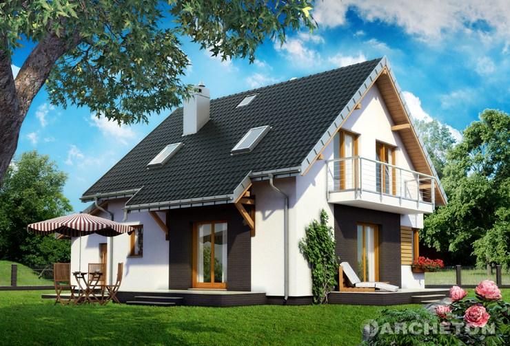 Projekt domu Malina Bobo - malutki domek z dwoma tarasami i balkonem na elewacji bocznej