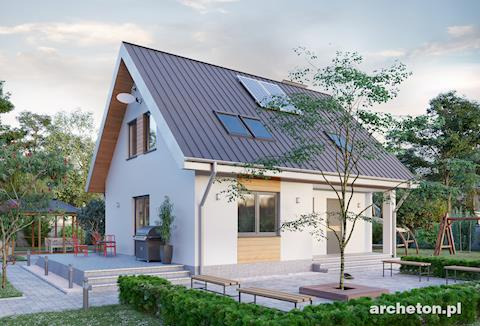 Projekt domu Malutek - mały dom z podpiwniczeniem, z dużym salonem