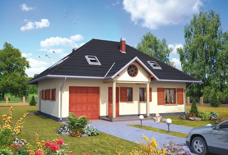 Projekt domu Mały Dworek - dom z garażem dostępnym z wiatrołapu