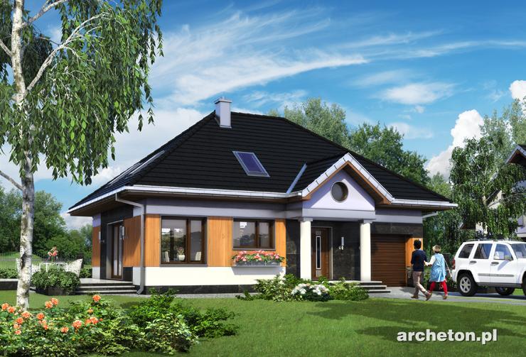 Projekt domu Mały Dworek - dom w stylu dworkowym, z nowoczesnymi detalami, pokryty dachem czterospadowym