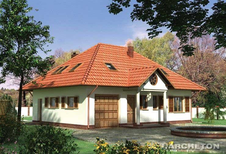 Projekt domu Mały Dworek - dom z wejściem w formie portyku