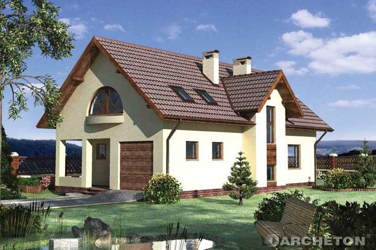 Projekt domu Manuela - dom z pustaków keramzytowych pokryty dachem dwuspadowym
