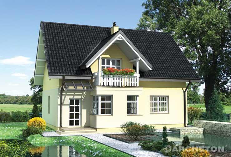 Projekt domu Marcel - dom z wysunietą od frontu kuchnią, z narożnymi oknami