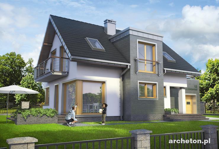 Projekt domu Margo Luna - nowoczesny i niewielki dom z balkonem nad garażem