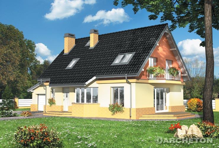 Projekt domu Marta - dom z użytkowym poddaszem, z 3 sypialniami