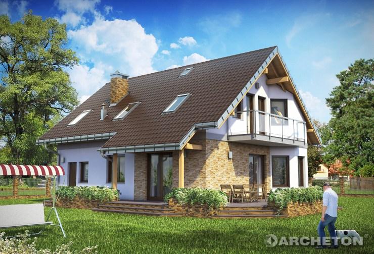Projekt domu Maryla - i malowniczy dom z kamiennymi akcentami elewacji