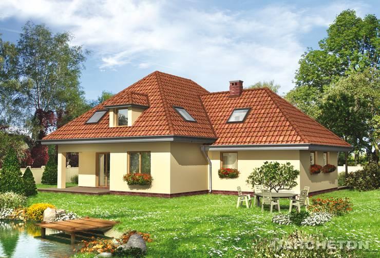Projekt domu Matecznik - przestronny dom, z gabinetem na parterze i siłownią na poddaszu