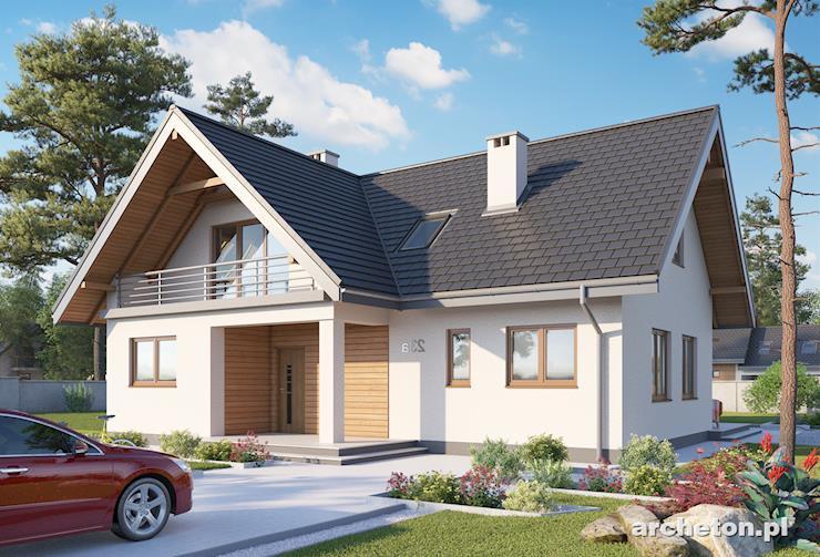 Projekt domu Matylda - dom z tarasem od strony ogrodu o ażurowym zadaszeniu