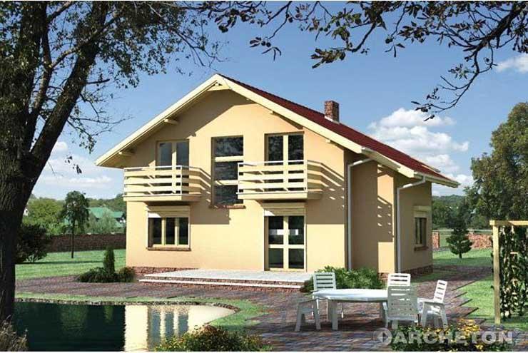 Projekt domu Meduza - dom z dwoma balkonami od strony ogrodu