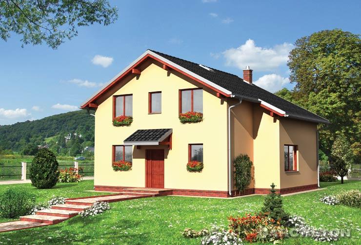 Projekt domu Meduza - dom z użytkowym poddaszem, nakryty dachem symetrycznym dwuspadowym