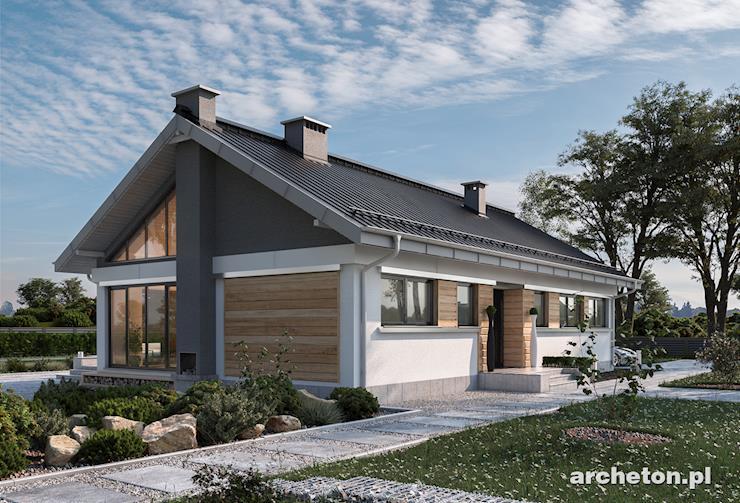 Projekt domu Mela - prosty dom parterowy na planie prostokąta z zewnętrznym kominkiem