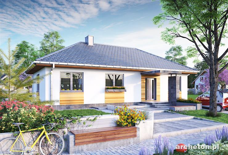 Projekt domu Menuet - prosty i przytulny dom parterowy, na planie w kształcie litery L