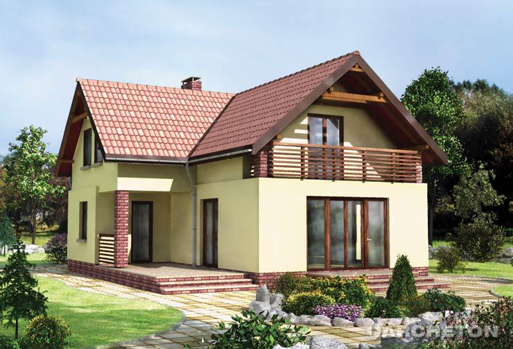 Projekt domu Michałek - dom na planie litery T, z loggią od frontu